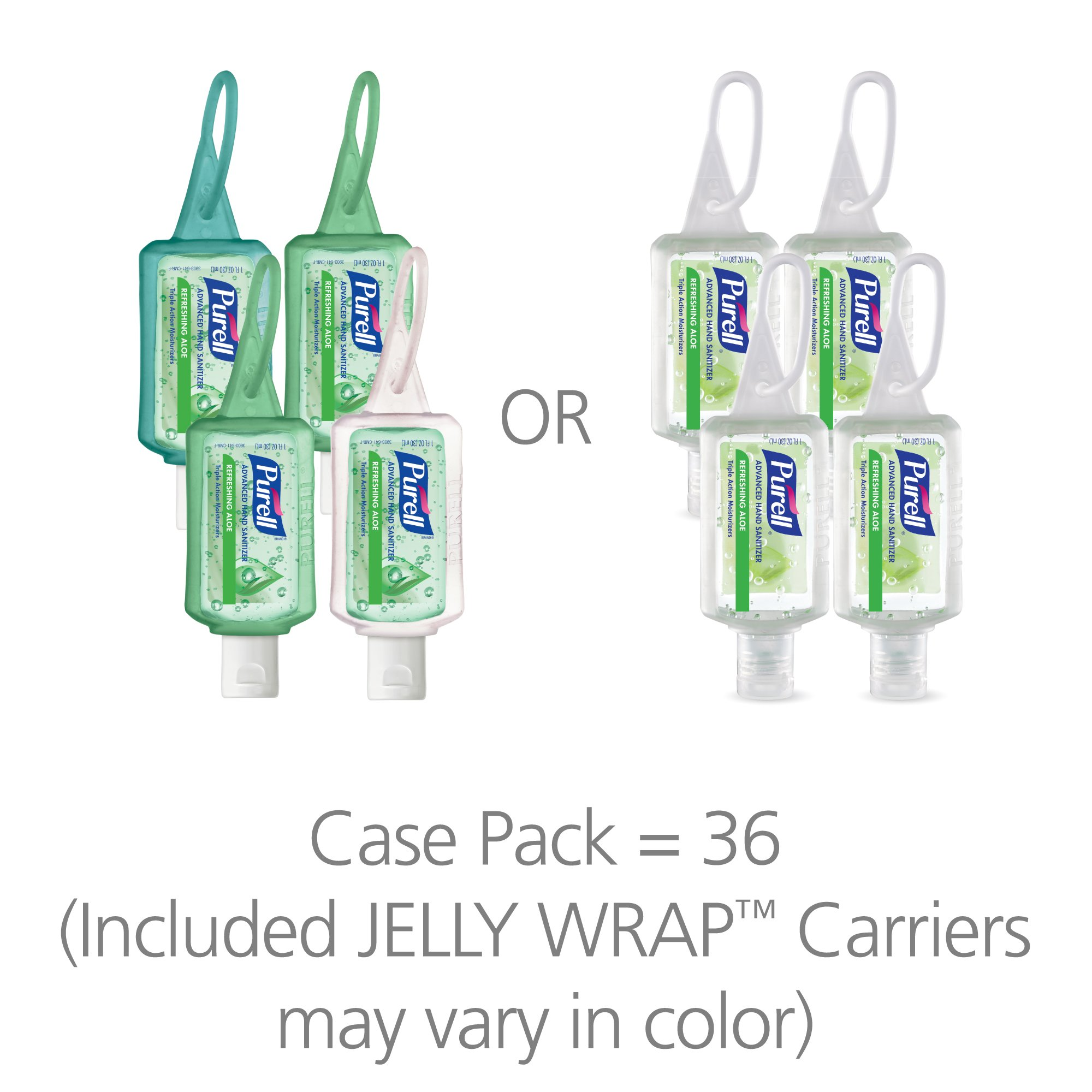 PURELL 3903-36 Advanced Hand Sanitizer Portable Bottles - Hand Sanitizer Gel With Aloe, 1 oz. Travel Sized Jelly Wrap Bottles (Case of 36) -