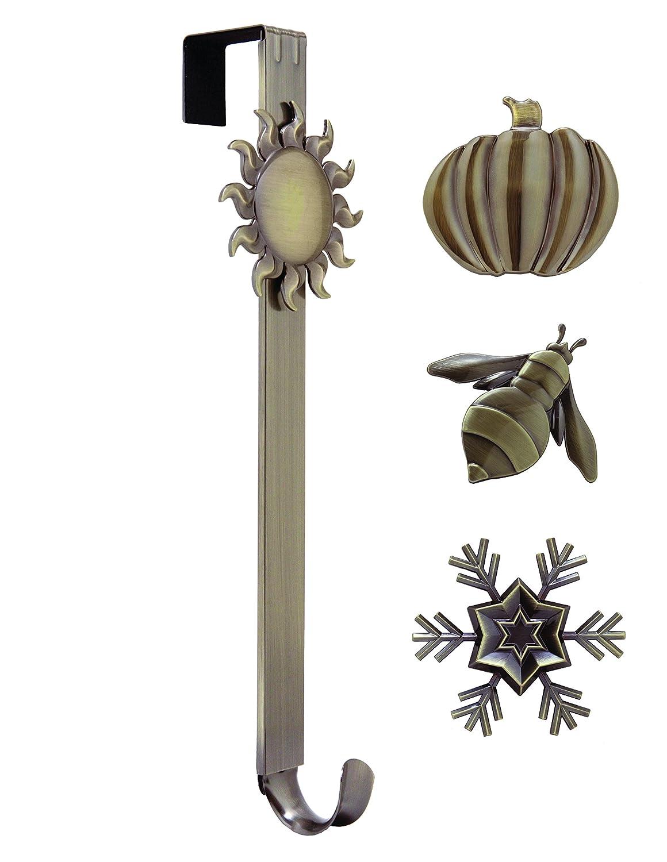 Adjustable Length Wreath Hanger with Interchangeable Icons (4 WREATH HANGERS IN 1) (Antique Brass--Sun/Snowflake/Butterfly/Fleur de lis) Haute Decor AEB396
