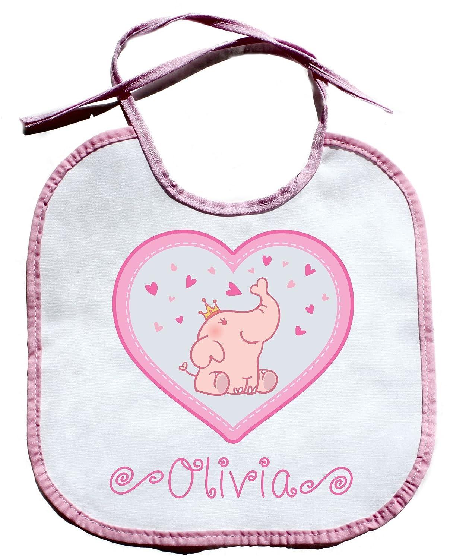 Cute Elephant Heart Bib PERSONALIZED CUSTOM NAME Baby Girl