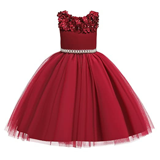 689fa014b39a8 Glamulice Vintage Flower Girl Dress 3D Floral Embroidery Swing Party  Dresses 2-10Y