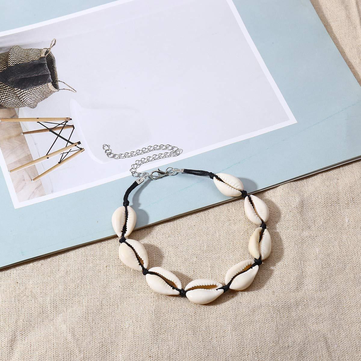 Yezelend Bracelet de Cheville Coquillages Pendentif Femmes Pied Bijoux Pieds Nus Sandale Plage Cheville Bracelet