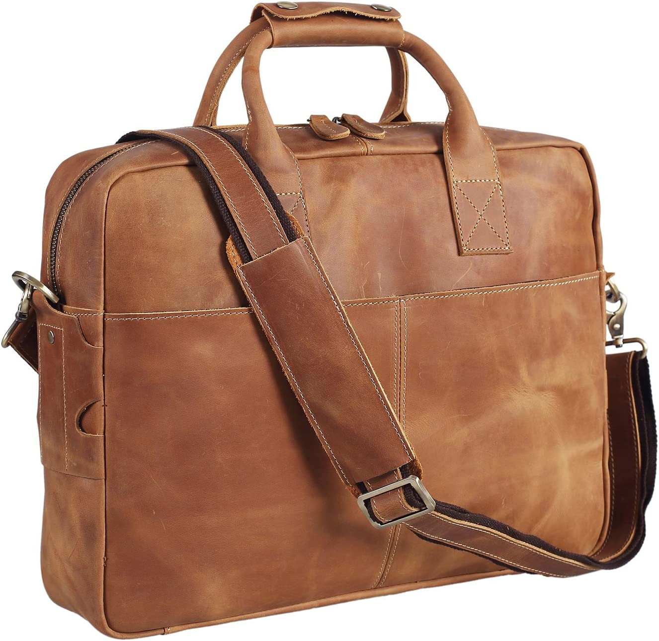The Texbo Genuine Full Grain Leather Briefcase travel product recommended by Jake Hay on Lifney.