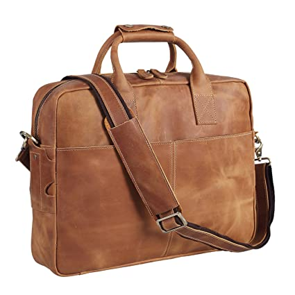 Amazon.com  Polare Men s Thick Authentic Genuine Leather 16   Laptop Case  Bag Briefcase  Office Products 9a261cfee475b