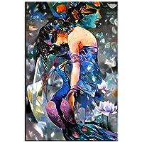 JLDN Dipinti ad Olio, Oggettistica per la casa Moderna Dipinti Donna Arte della Parete Pittura Astratta Legno Interno Incorniciato Decorazione della Parete appesa/Dimensioni ridotte