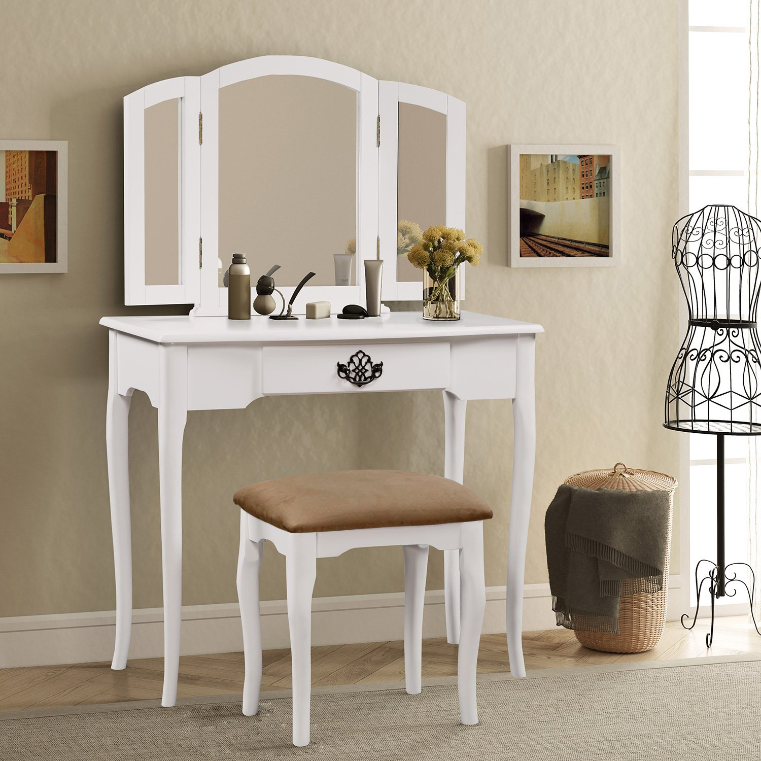 Harper & Bright Designs Vanity Set Make-up Dressing Table with Mirror and Cushioned Stool (Black) WF036936