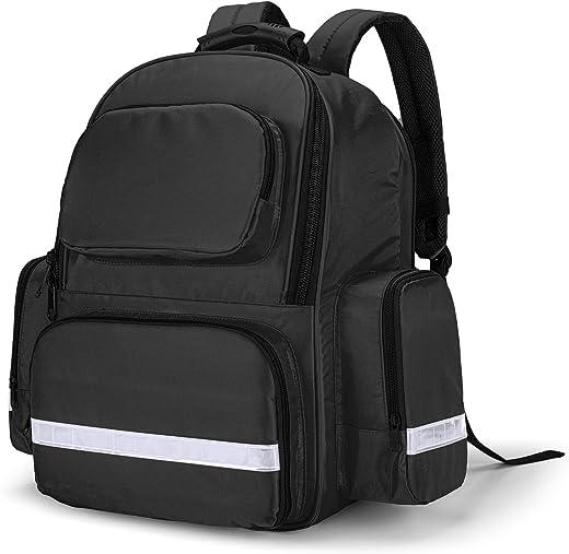 Trunab First Responder Bag Trauma Backpack Empty, Medical Emergency Kits Storage Jump Bag Pack for EMT, EMS, Police, Firefighters, Safety Officers, Black
