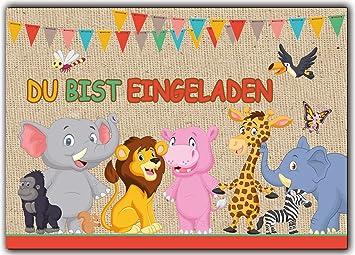 12er Set Einladungskarten Kindergeburtstag Wilde Tiere Zoo Löwe Elefant  Giraffe Affe Zebra Jungen Mädchen Kinder