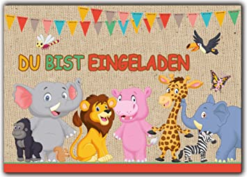 12er Set Einladungskarten Kindergeburtstag Wilde Tiere Zoo Lowe