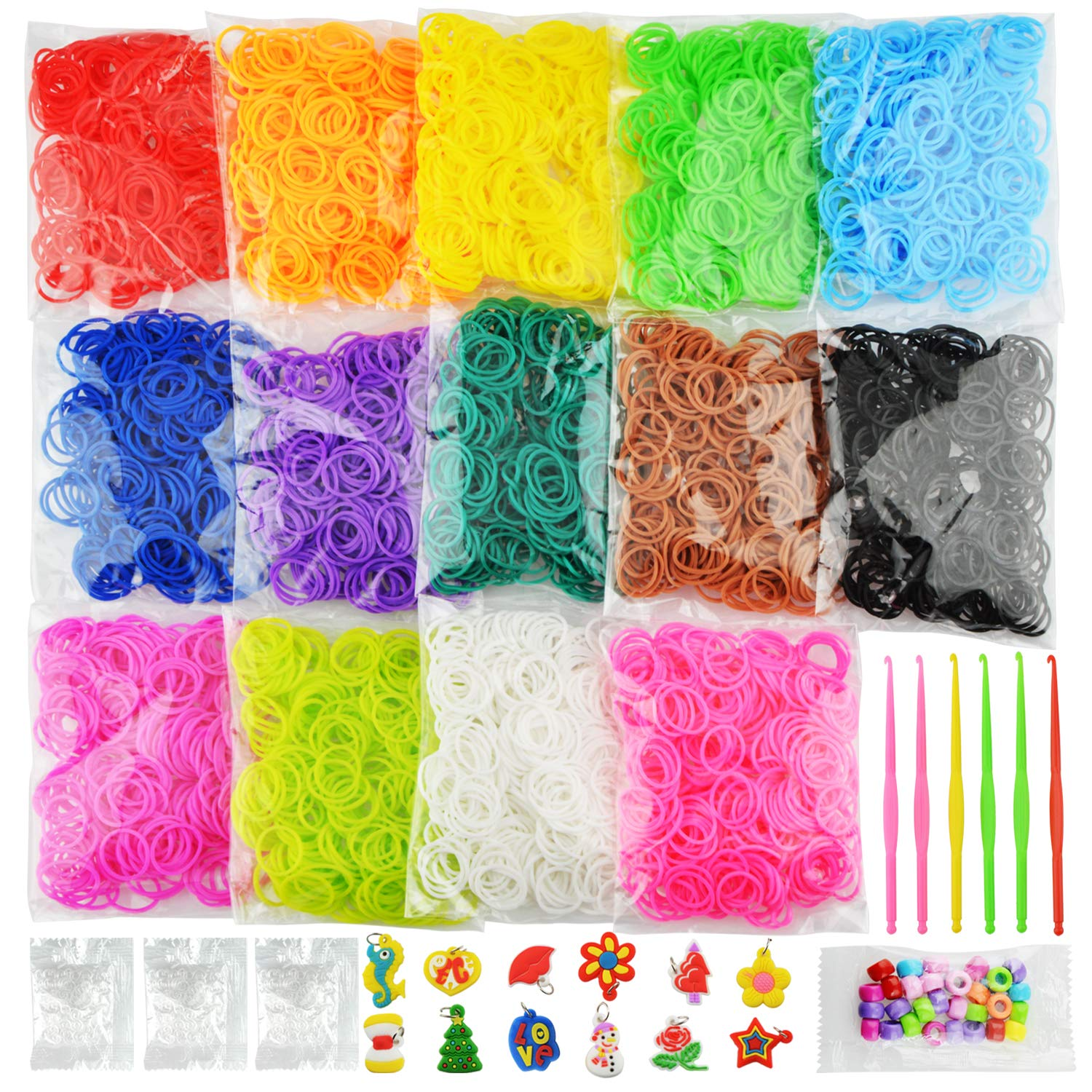 6900+ New Rubber Bands Bracelet Kit, 2021 New Loom Bands in 14 Colors- Great Gift for Handicraft Lovers & Kids. No Loom Board Included