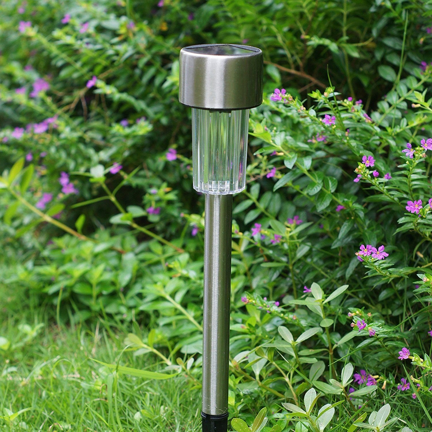 Solar Path Lights Outdoor Stainless Steel - 12 Pack Bright Solar Garden Illumination for Pathway Driveway Lawn Landscape Patio Yard (Silver) by kinna (Image #7)