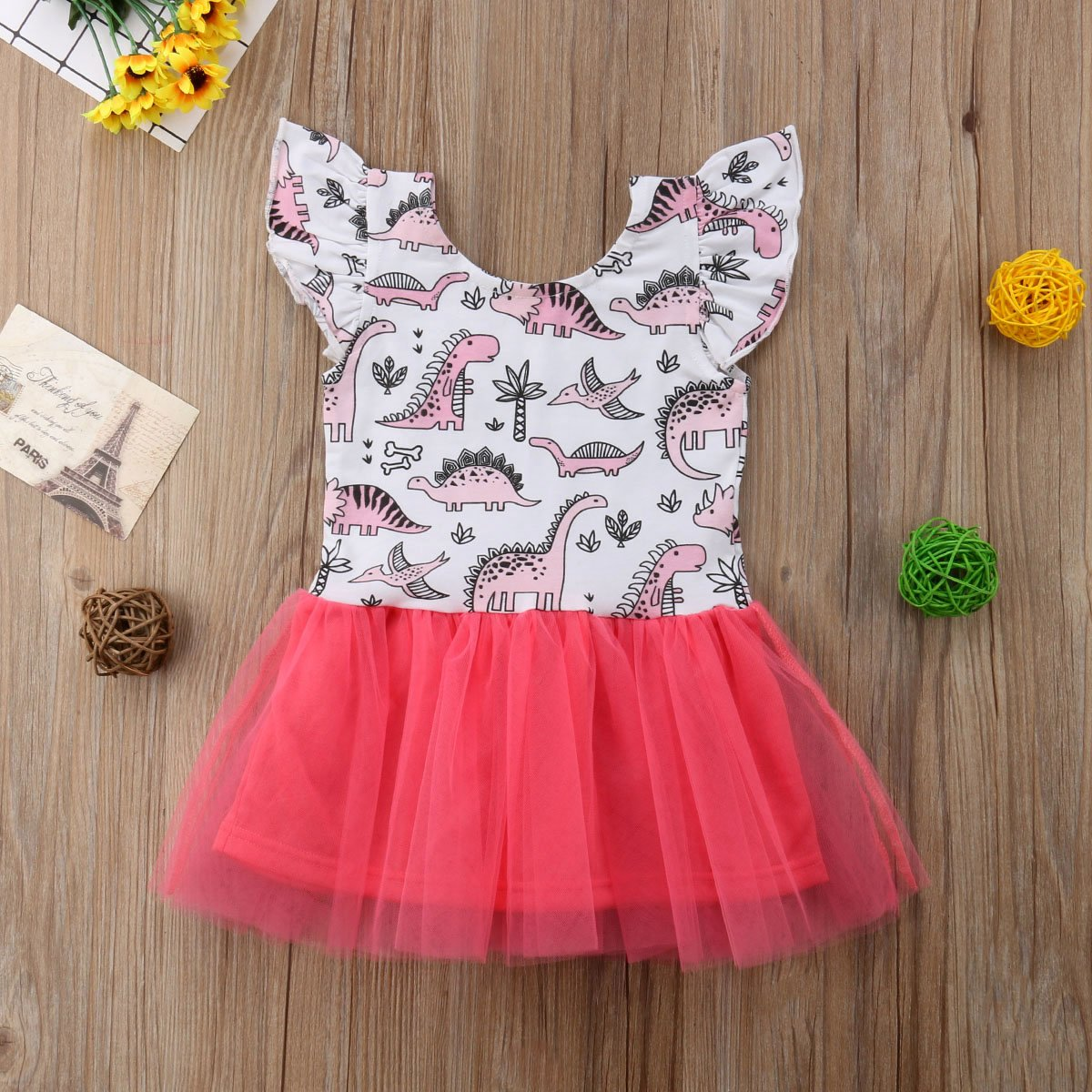 Toddler Baby Girls Dresses Dinosaur Tops Lace Skirt Casual Dresses Party Dresses Birthday Dresses Clothes