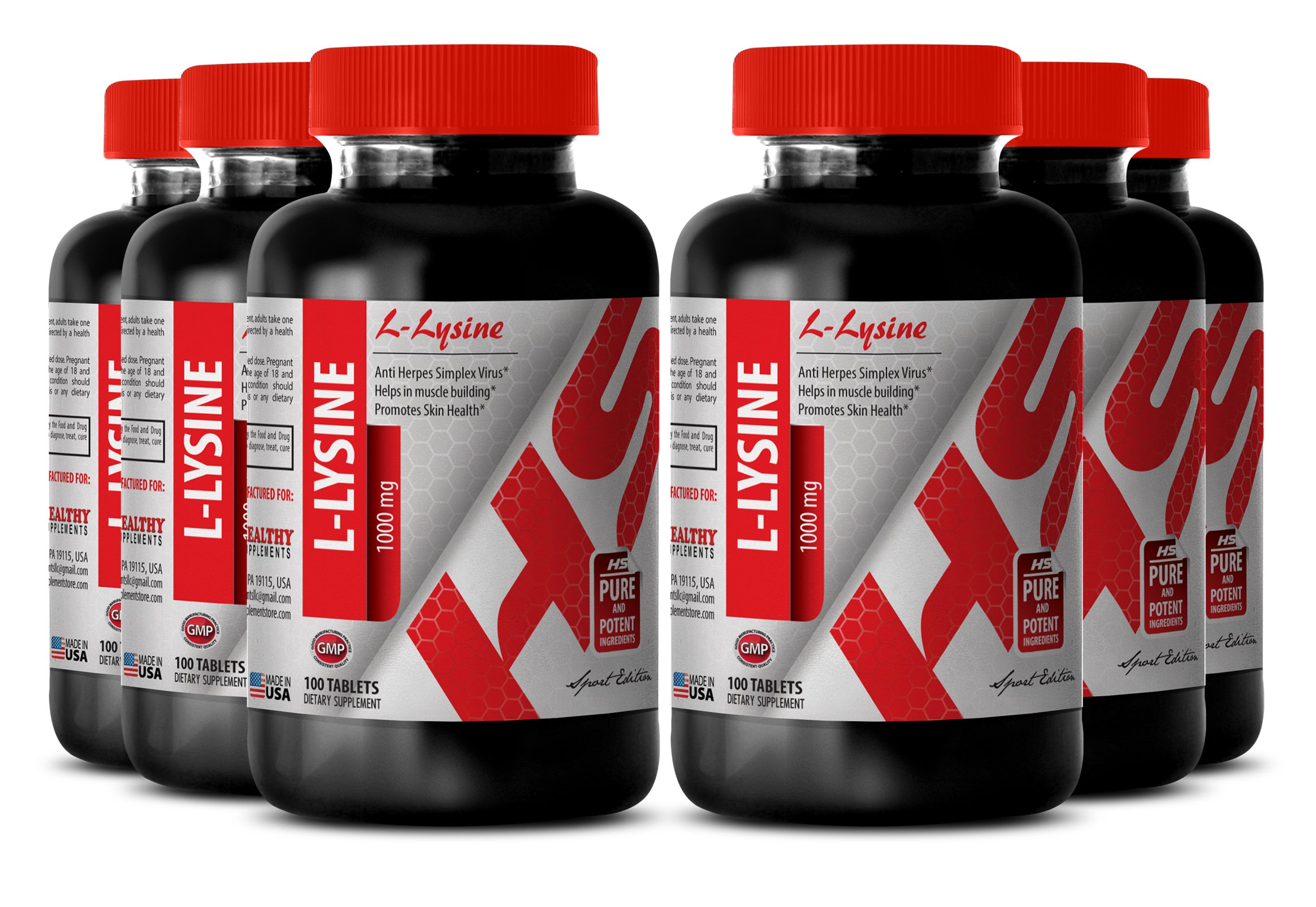 Lysine supplement - L-LYSINE SUPPLEMENT 1000 MG - build muscle mass (6 Bottles)