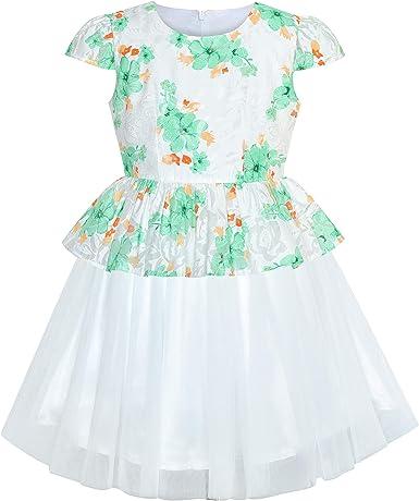 Vestido para niña Rosa Flor Manga del Casquillo Tul Falda 14 años ...