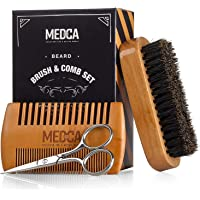 Wooden Beard and Comb Set for Men - Perfect for Beards Head Hair and Mustaches Men's Grooming Kit for Styling, Applying…