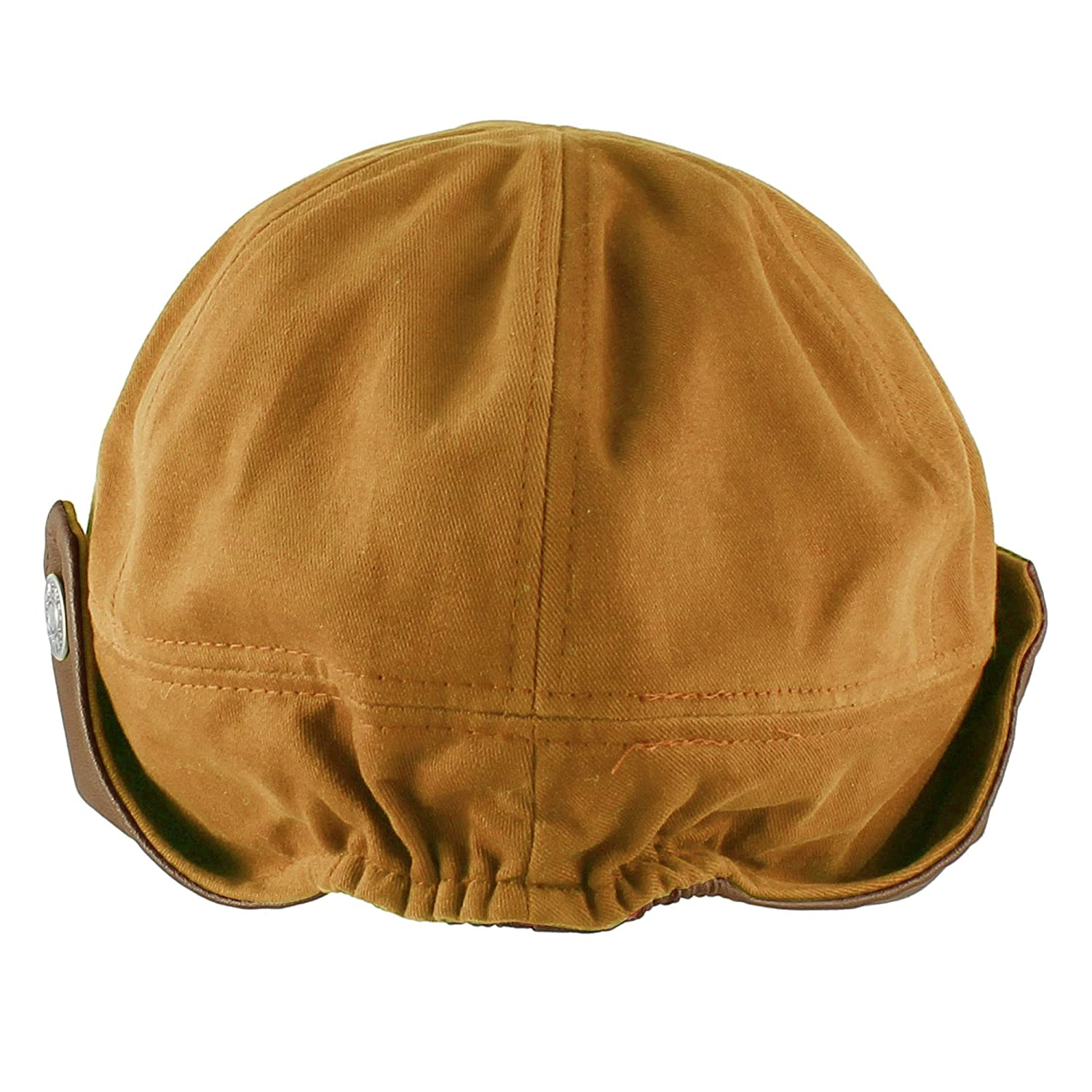 f7dda390bc6 Morehats Cotton Faux Leather Floppy Short Brim Hip-hop Baseball Cap Aviator  Trapper Hat - Mustard at Amazon Men's Clothing store: