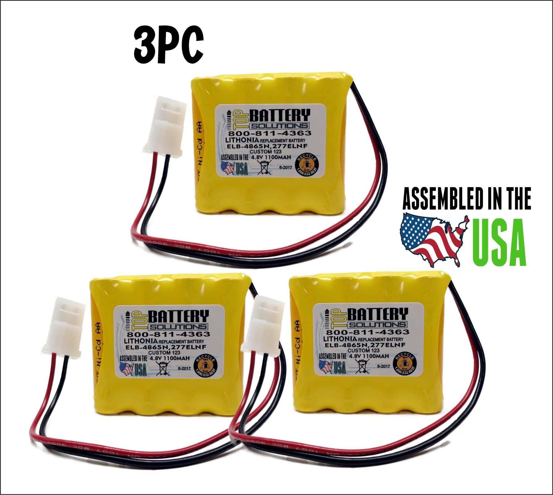 3PC Lithonia 277ELNF ELB-4865N ELB4865N REPLACEMENT BATTERY