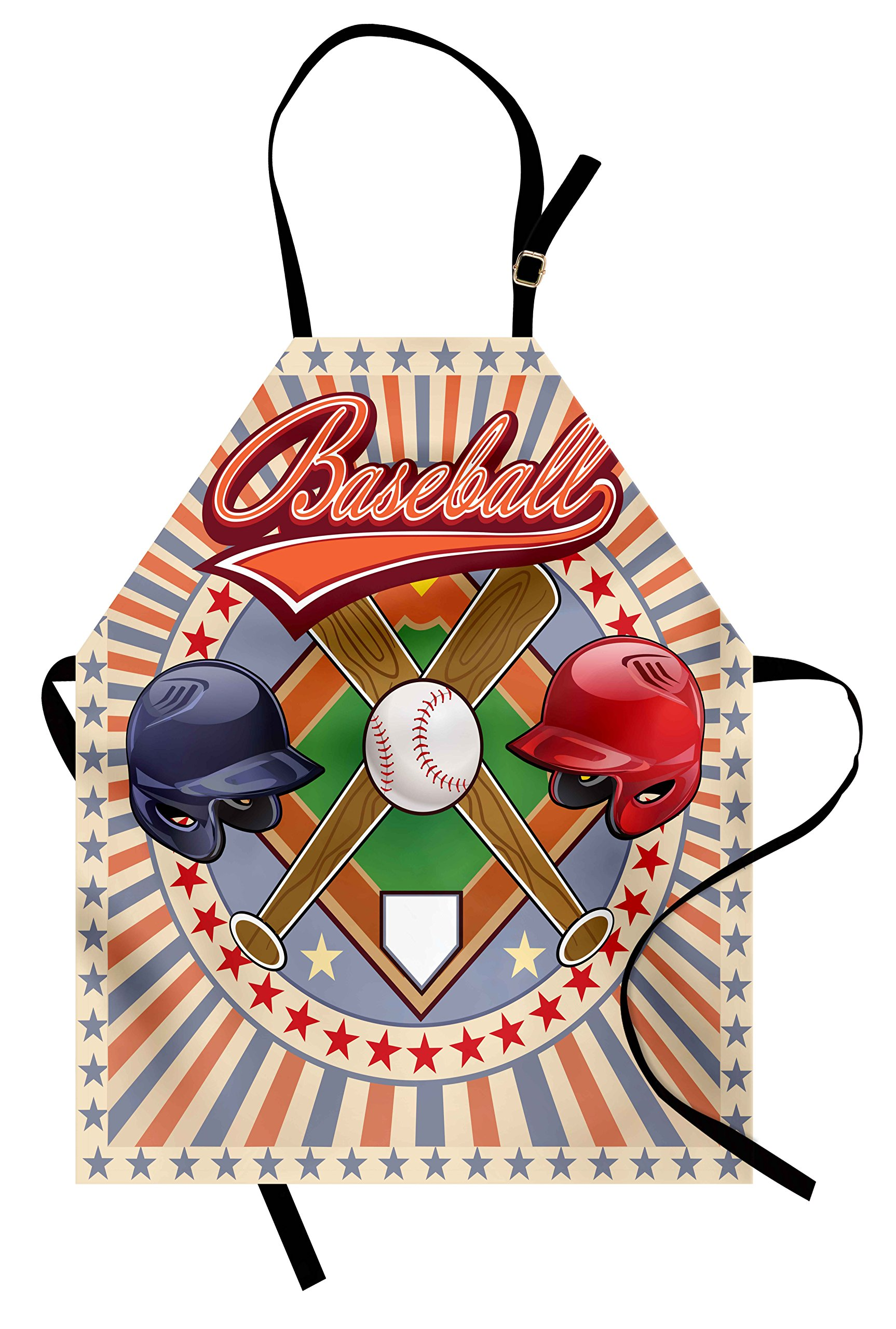 Ambesonne Baseball Apron, Retro Pop Art Baseball Logo with Vertical Striped Setting Bat and Ball Game Print, Unisex Kitchen Bib Apron with Adjustable Neck for Cooking Baking Gardening, Multicolor