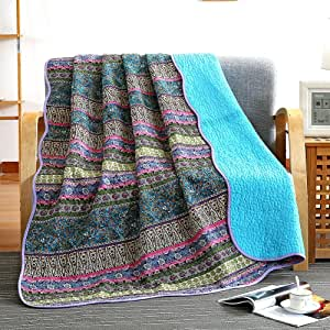 NEWLAKE Quilt Throw Blanket with Reversible Floral Patchwork, Blue Jacquard, 60X78 Inch