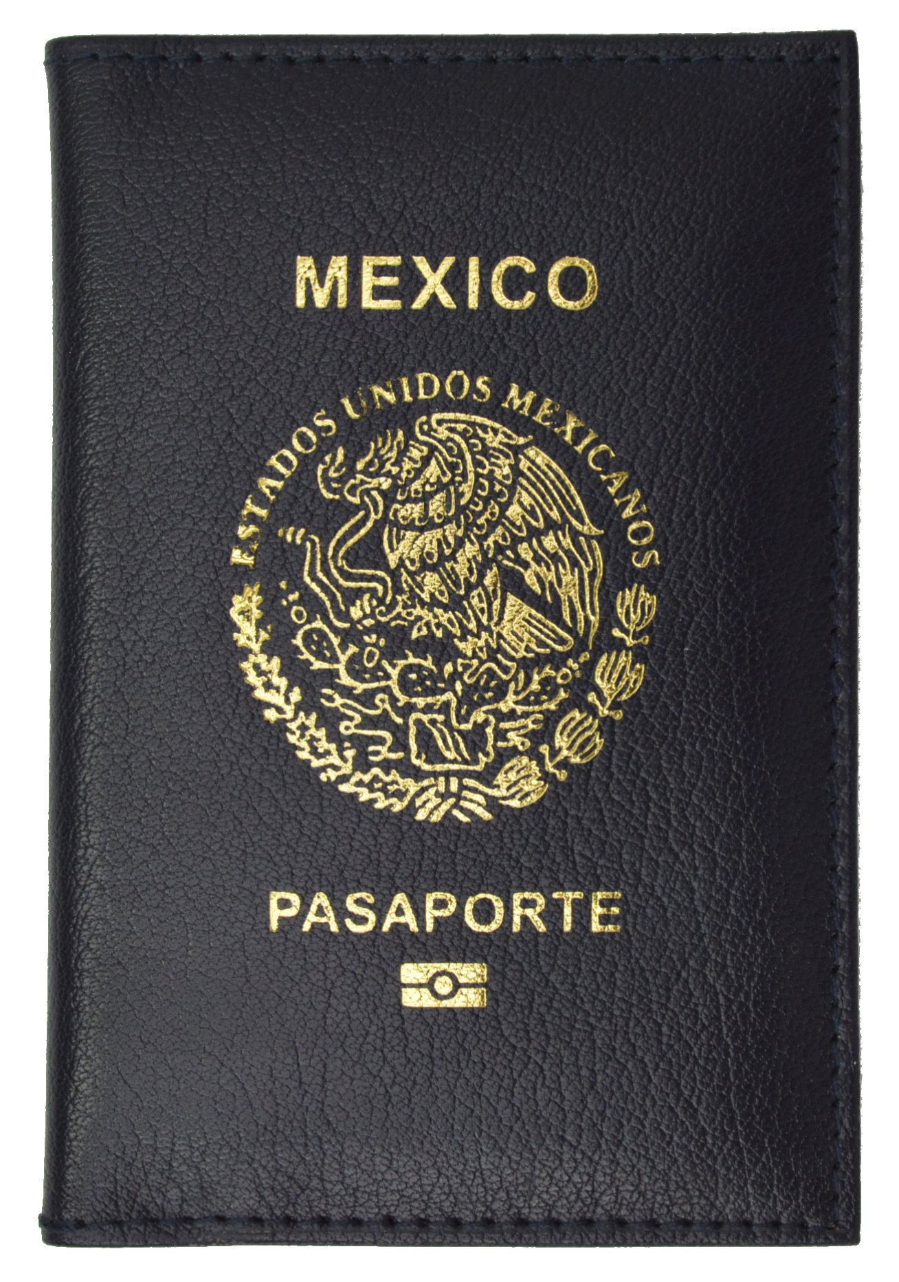Mexico Passport Cover Genuine Leather Travel Wallet with Emblem Pasaporte (Blue)