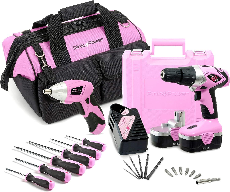 Pink Power - Juego de destornilladores inalámbricos (18 V, incluye ...