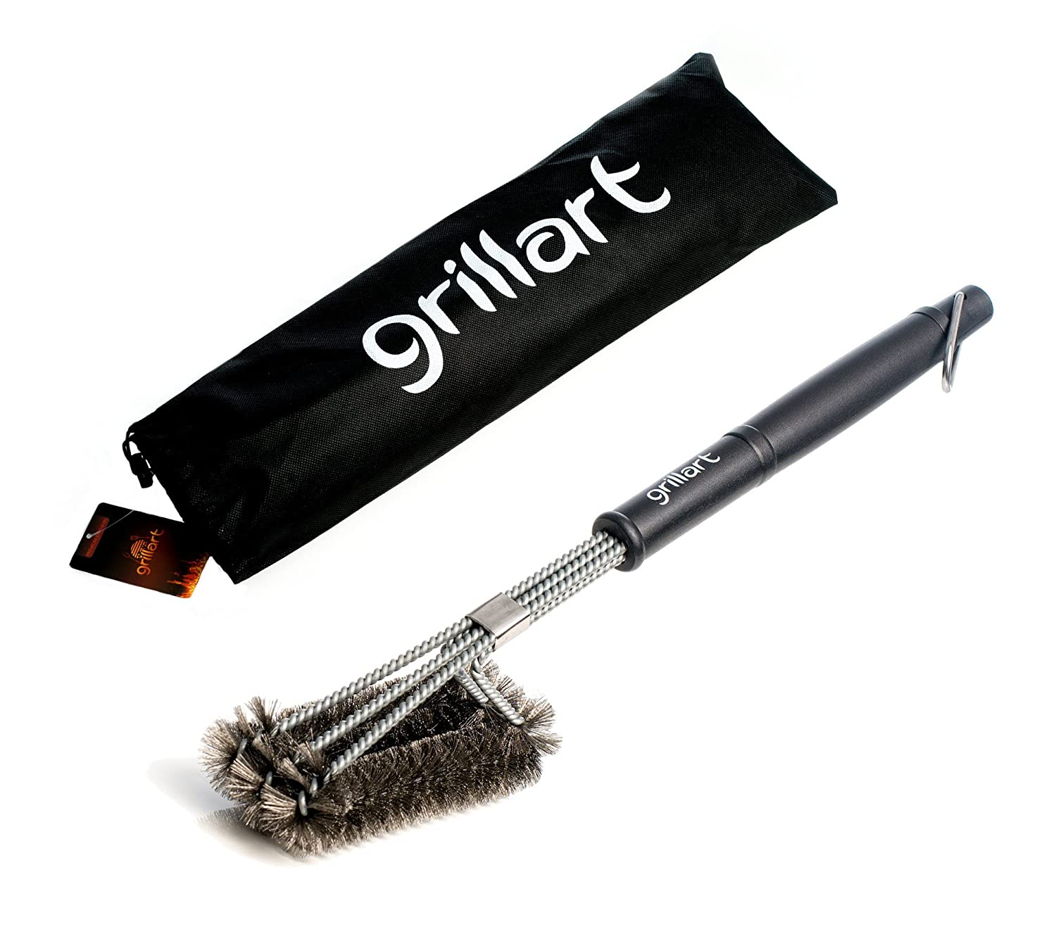 /Premium Quality with 3/Stainless Steel Brush Finish 360//° Clean/ /The Original From Grillart/ Professional BBQ Grill Brush /Cleaning/ /3/in 1 Stainless Steel/