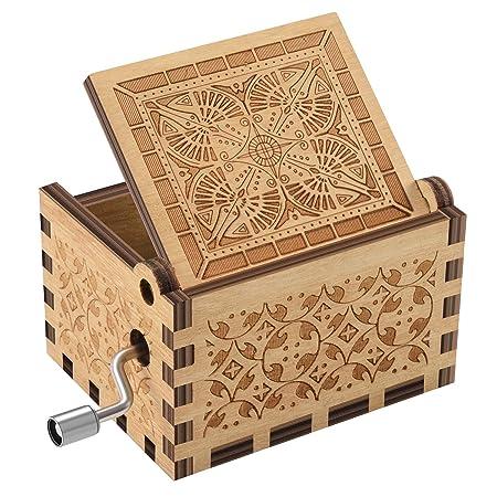 Laser Engraved Vintage Wooden Music Box