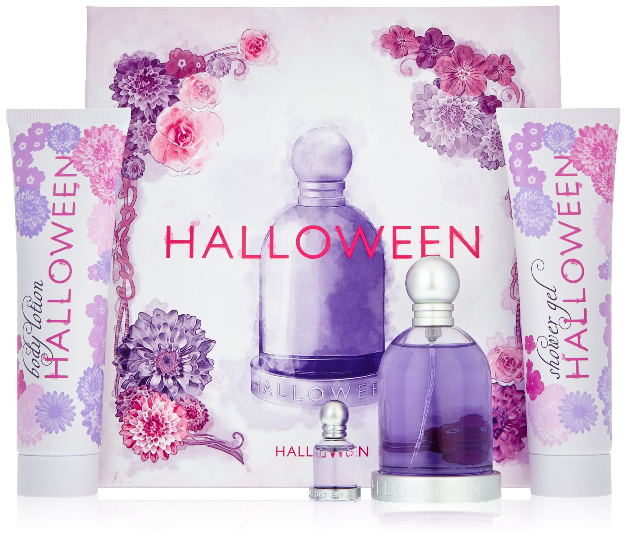 Halloween by J. Del Pozo for Women - 4 Pc Gift Set 3.4oz EDT Spray, 5oz Fruit Body Lotion, 5oz Shower Gel Bubbles, 0.15oz EDT Splash