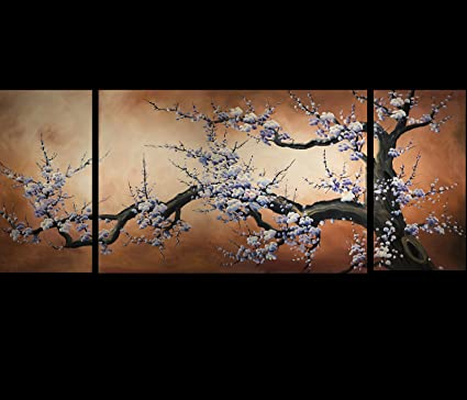 Amazon.com: Japanese Cherry Blossom Canvas Wall Art Modern ...
