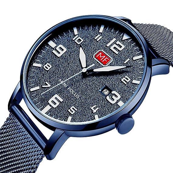 Reloj de pulsera de cuarzo, azul, con diseño fino y minimalista, correa de