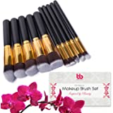 Beauty Bon - Pennelli professionali da trucco, con manici in plastica, ideali per l'applicazione di correttori, fondotinta e cipria (Confezione da 10)