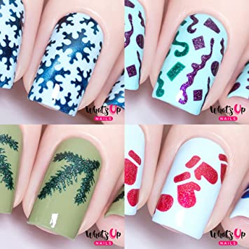 Whats Up Nails - Christmas Nail Vinyl Stencils 4 pack (Snowfall, Confetti,  Evergreen, Mittens) for