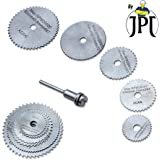 """JPT 5pc 1/8"""" Shank High Speed Steel HSS Saw Disc Wheel Cutting Blades with Mandrels for Dremel Fordom Drills Rotary Tools"""