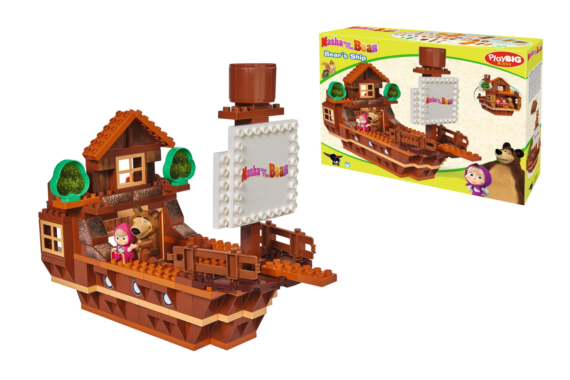 Big 800057107 ''Bloxx Masha and The Bear Ship Building Blocks Set
