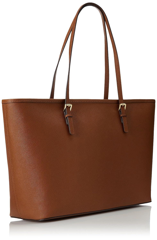 Michael Kors Womens Jet Set Travel Top Zip Handbag, Brown (Brown ...
