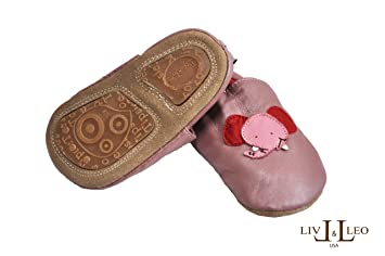 bd21bf43965cd Tipsie Toes Baby Soft Sole Leather Shoes Baby Girl - Elephant (4.75
