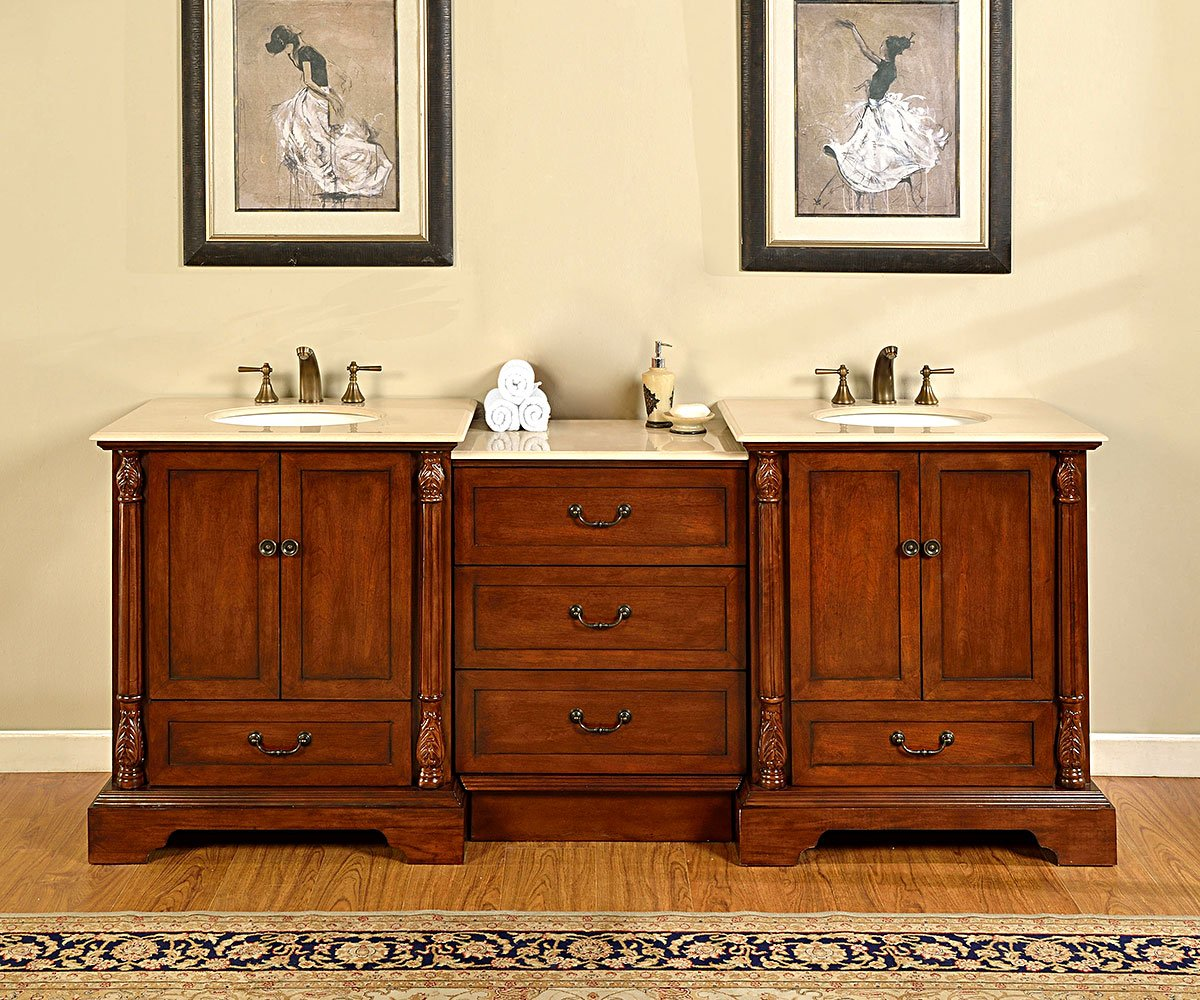 Silkroad Exclusive Countertop Marble Stone Double Sink Bathroom Vanity with Dual Cabinet, 87-Inch