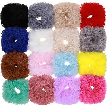 6 Colours Premium Faux Fur Hairband//HairBobble//Hair Elastic PomPom Ball