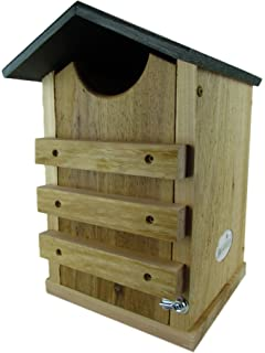 screech owl or saw whet owl house cedar nesting box with poly lumber roof