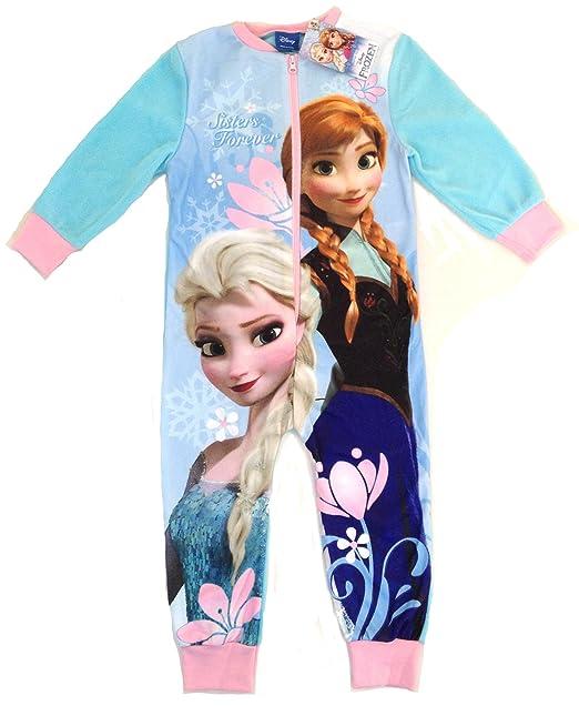 Disney Frozen - Pijama de una pieza - para niña Azul azul 3/4 Años