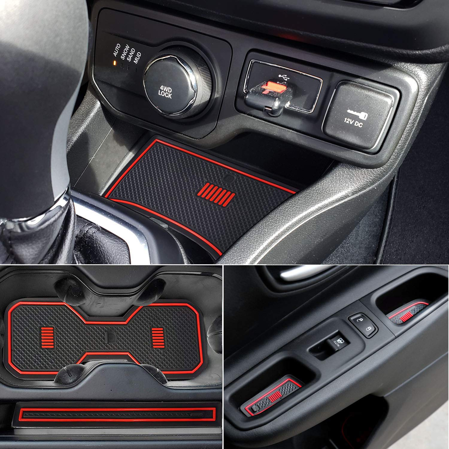 White=Fluorescence ZTYCKJ Car Styling Cushion Non-Slip Gate Slot Pad Cup Mats Auto Interior Door Slot Pad Mat For Jeep Renegade 2018 2019 Interior Parts Accessories