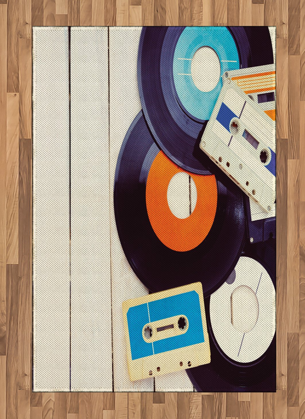 Ambesonne Indie Area Rug, Gramophone Records and Old Audio Cassettes on Wooden Table Nostalgia Music, Flat Woven Accent Rug for Living Room Bedroom Dining Room, 4 X 5.7 FT, Blue Orange Black