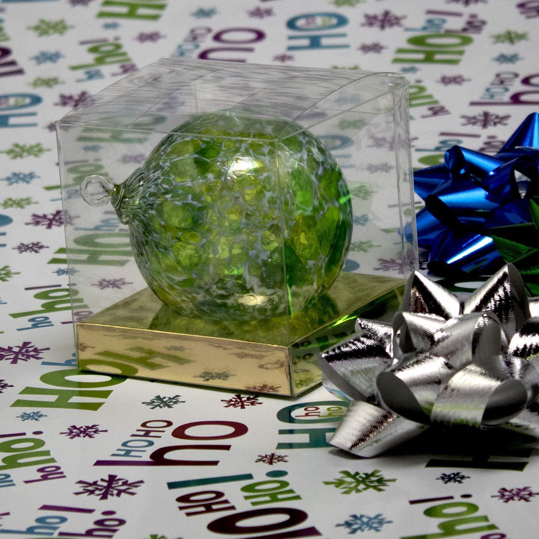 Hand blown Fine Art Glass Ornament in Green White Powder Made in Seattle Ornament Artist Dehanna Jones. Sun catcher