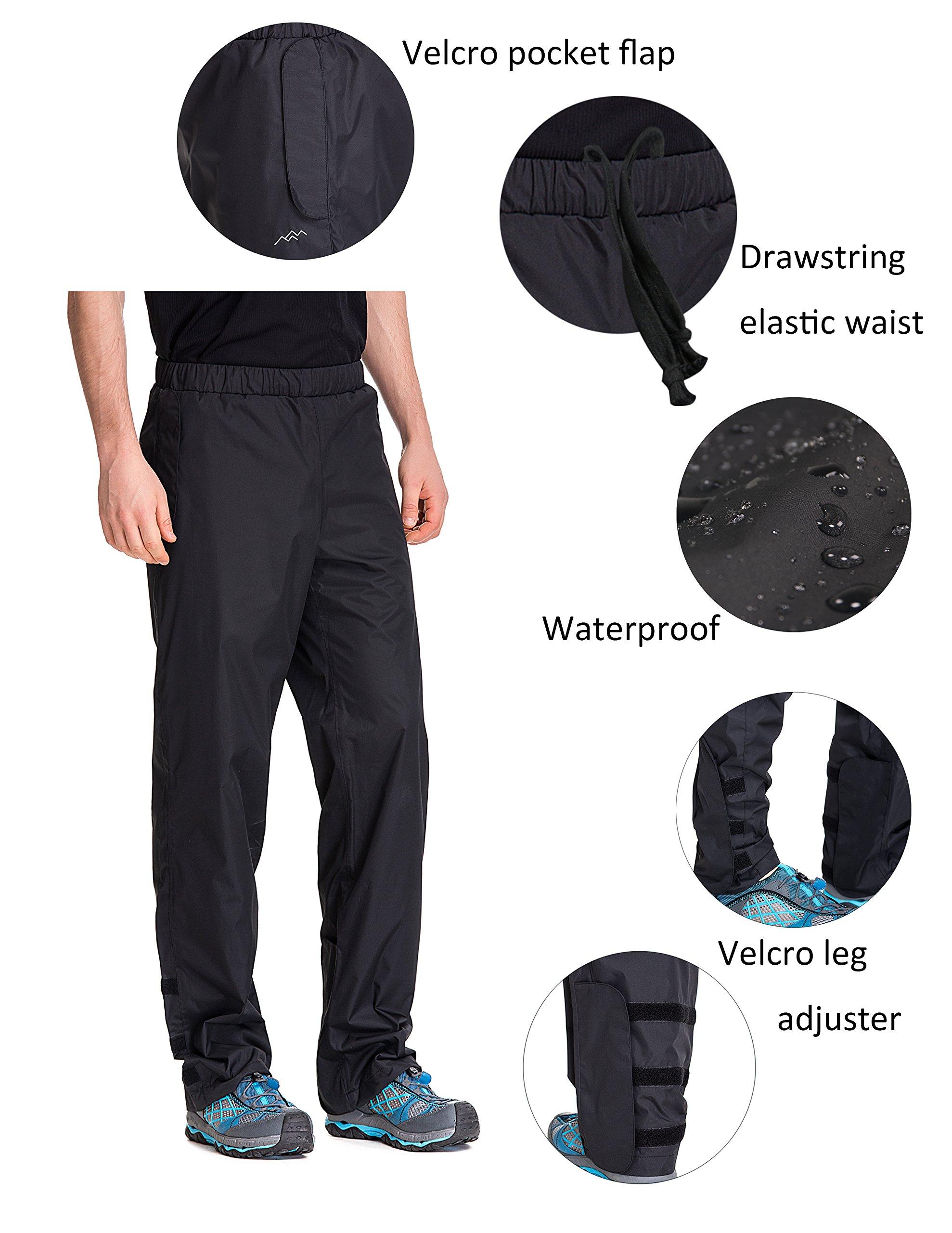 Trailside Supply Co. Men's Waterproof Windproof Elastic-Waist Rain Pants (Black,X-Large) by Trailside Supply Co. (Image #3)