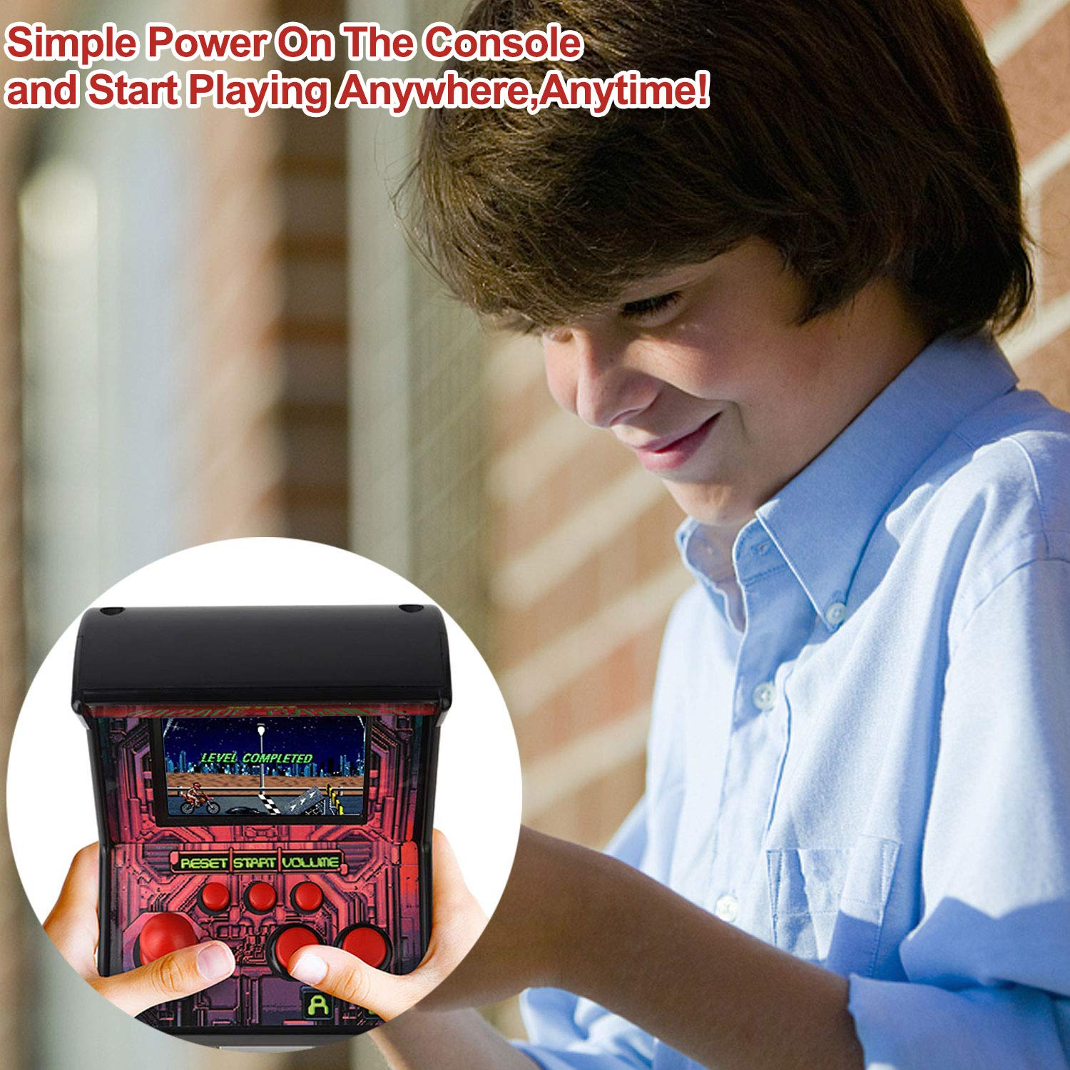 GBD Kids Mini Retro Arcade Game Cabinet Machine 200 Classic Handheld Video Games 2.5'' Display Joystick Travel Portable Game Player Kids Boys Girls Holiday Birthday Gifts Electronic Toys by GBD (Image #6)