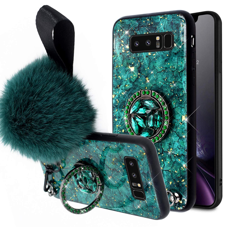 Kompatibel mit Samsung Galaxy Note 8 H/ülle,Handyh/ülle Galaxy Note 8 Case Gl/änzend Glitzer Bling Marmor TPU Silikon H/ülle Schutzh/ülle Sto/ßfest Silikon Bumper Case Cover mit Diamant Ring St/änder,Rot