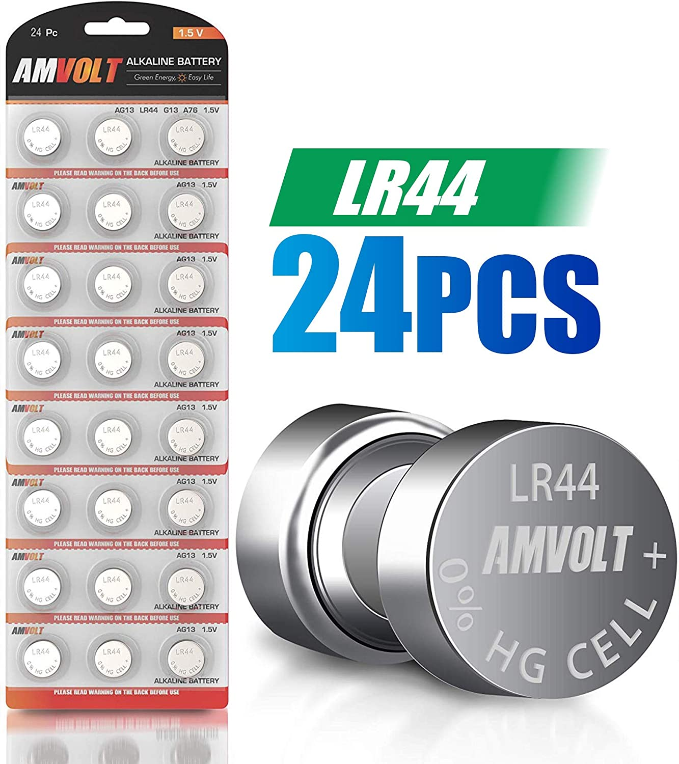 24 Pack LR44 AG13 SR44 357 303 LR44G Battery - [Ultra Power] Premium Alkaline 1.5 Volt Non Rechargeable Round Button Cell Batteries for Watches Clocks & Electronic Devices - 2023 Exp Date 81dAwdt7q-L