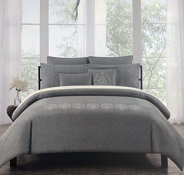 Tahari Home Bedding Embroidered Silver Metallic Thread Medallions on Charcoal Gray Full/Queen Size Luxury 3 Piece Duvet Comforter Cover Shams Set - Royal Embroidery