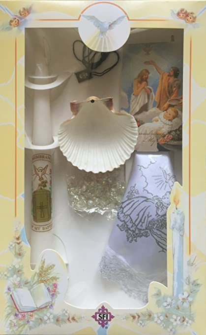 New Boys or Girls Christening Baptism Candle Box Gift Set Shell Missal in English