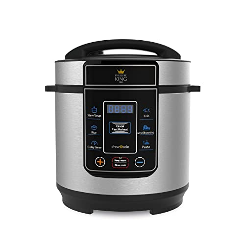 Pressure King Pro 3 Litre Electric Pressure Cooker - Slow Cooker, Soup Maker, Rice Cooker, 8-in-1 Multi Cooker Chrome (700 W)