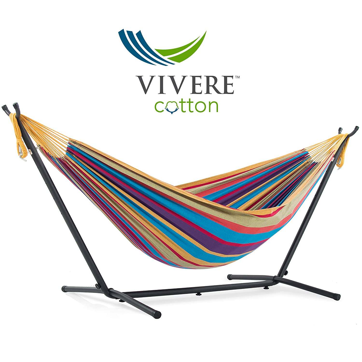 Vivere Double Cotton Hammock with Space Saving Steel Stand, Tropical 450 lb Capacity – Premium Carry Bag Included